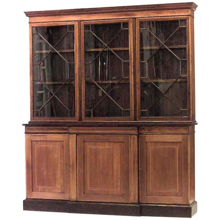 English Sheraton Style Breakfront Cabinet For