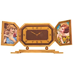 French Art Deco Brass Mechanical Clock with Dual Shutter-Fold Photo Frames