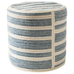 Franco Woven Wool Ottoman in Blue Custom Made in the USA