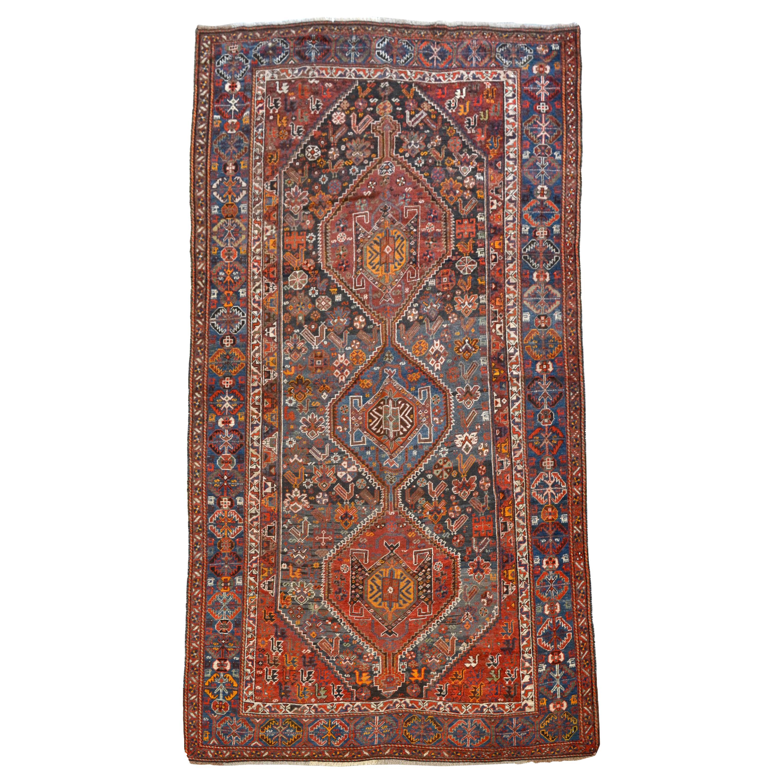 Persian Qashqai Neriz Carpet, circa 1880, Pure Handspun Wool and Vegetable Dyes