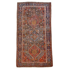 Persian Qashqai Neriz Carpet, circa 1880, Pure Handspun Wool and Vegetable Dyes