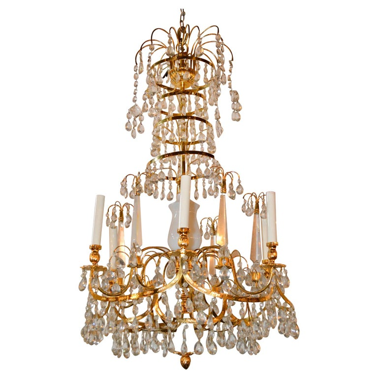 Baltic Brass and Milk Glass Chandelier For Sale