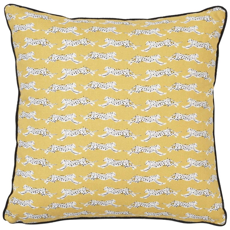 Schumacher Leaping Leopards Yellow Two-Sided Cotton Pillow For Sale
