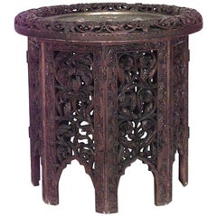 Asian Burmese Style Filigree Octagonal Folding Base End Table