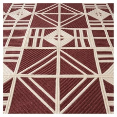 Level Wool Rug in Rust and Cream Custom Made in the USA