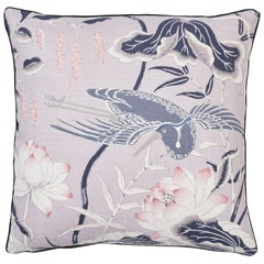 Schumacher Lotus Garden Japanese Floral Lilac Two-Sided Linen Pillow