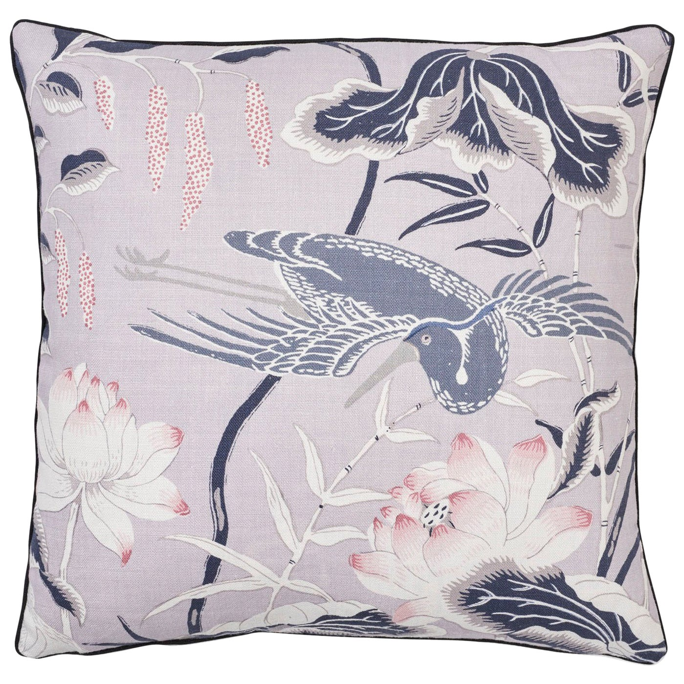 Schumacher Lotus Garden Japanese Floral Lilac Two-Sided Linen Pillow