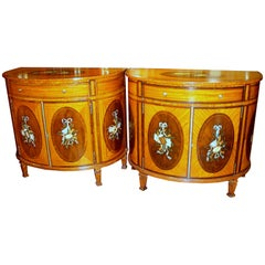 Pair of Old Reprod George III Style Hand Painted Satinwood Demilune Commodes