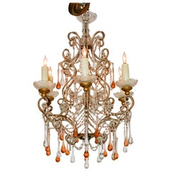 Italian Beaded Amber Crystal Chandelier