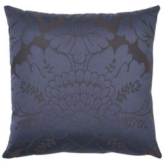 Schumacher Maggiore Damasco Midnight Two-Sided Cotton Pillow