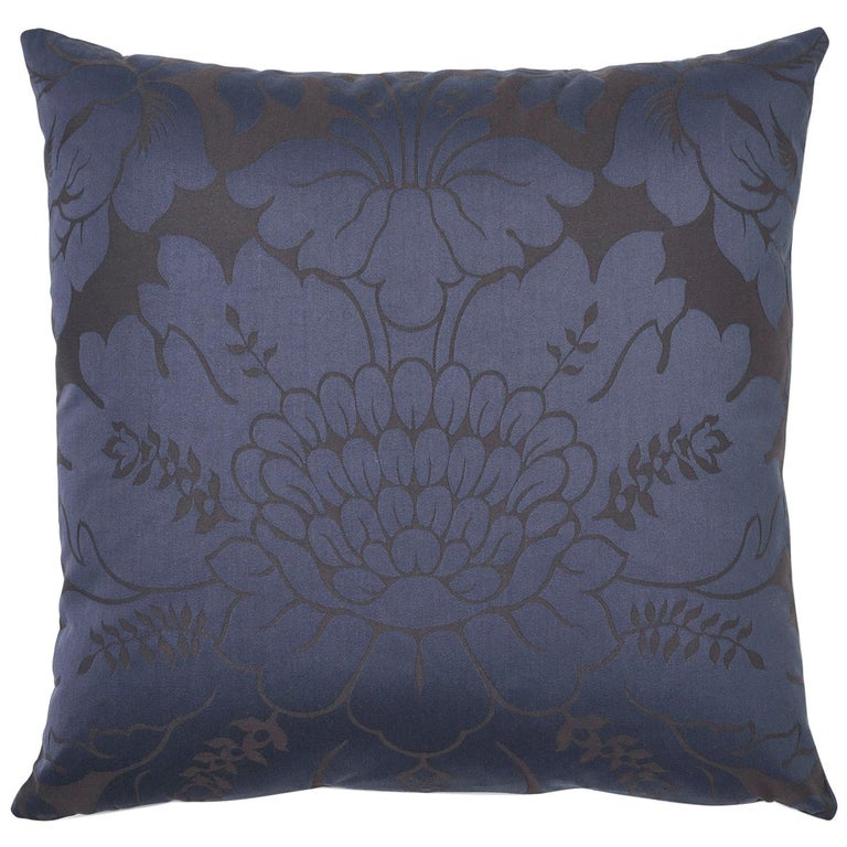 Schumacher Maggiore Damasco Midnight Two-Sided Cotton Pillow For Sale