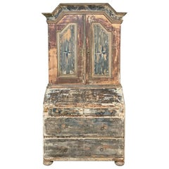 18th Century Painted Swedish Secretary, Bookcase