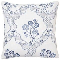 Schumacher Marella Delft Botanical Trellis Two-Sided Linen Pillow