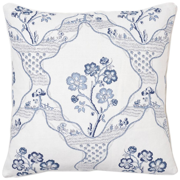 Schumacher Marella Delft Botanical Trellis Two-Sided Linen Pillow For Sale