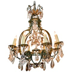 19th Century French Iron and Crystal Chandelier