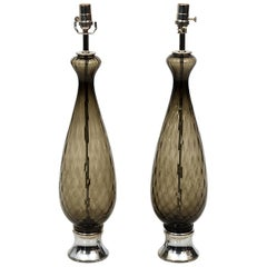 Pair of Italian Grey Glass Table Lamps, circa 1960s