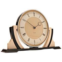 Iconic English Art Deco Chrome, Black and White Bakelite Mechanical Mantel Clock