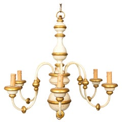 Gold and White Painted Chandelier