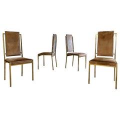 Set of 4 Brass Dining Chairs, Romeo Rega Design, Italy, 1971
