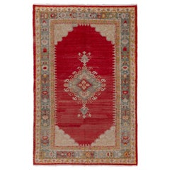 Antique Oushak Rug, circa 1930s, Red Field