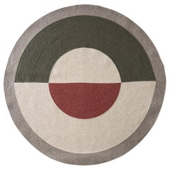 Lunar No. 2 Wool Rug in Rust Rose and Moss Custom Made in the USA