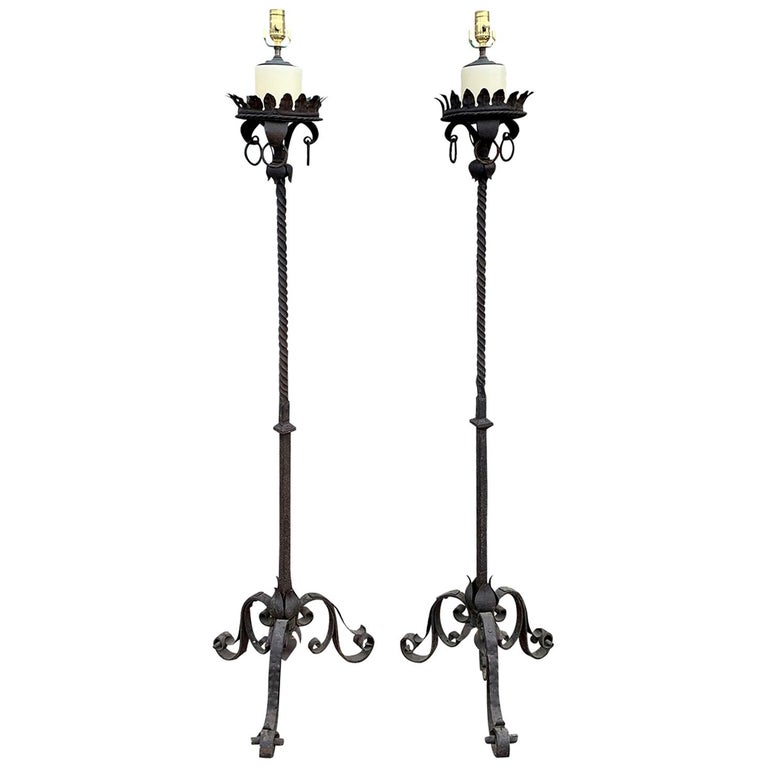 Pair Of 19th 20th Century Large Iron Torcheres As Floor Lamps