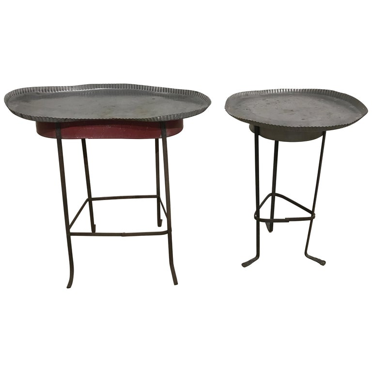 Pair of Tole Gueridon Metal Side Tables with Crimped Piecrust Tops For Sale