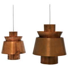 "Jørn Utzon, Pair of Danish Mid-Century Modern ""Tivoli"" Copper Pendants"