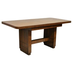 Antique French Art Deco Banded Inlay Mahogany Small Dining Room Table