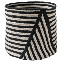 Point Striped Wool Basket in Black and Light Grey Custom Woven in the USA