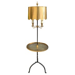 20th Century Iron Floor Lamp with Brass Table, Adjustable Brass Shade