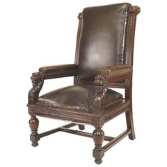 English Victorian High Back Leather Judges Chairs