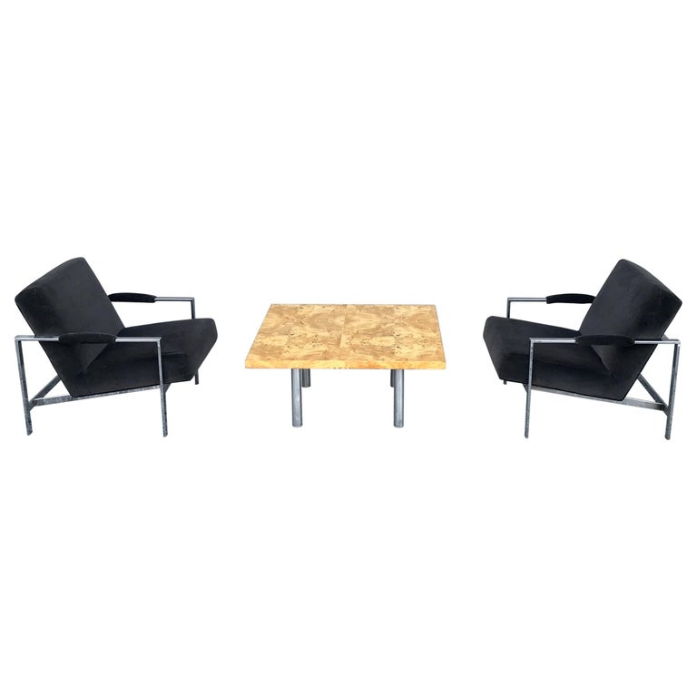 Midcentury Pair of Lounge Chairs and Cocktail Table For Sale