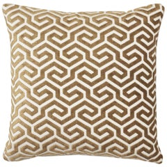 Schumacher Ming Fret Velvet Bronze Two-Sided Cotton Pillow