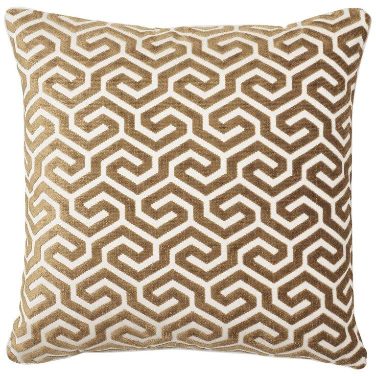 Schumacher Ming Fret Velvet Bronze Two-Sided Cotton Pillow For Sale