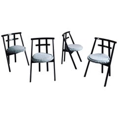 Set of 4 Postmodern Black Lacquered Dining Chairs by Cassina, 1982