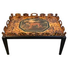 Regency Style Tortoiseshell & Jaguar Motif Coffee Table by William Skilling