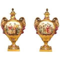 Pair of Italian Capo Di Monti Porcelain Floral Vases