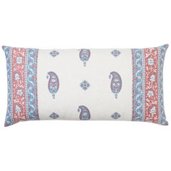 Schumacher Ojai Paisley Mark D. Sikes Red Two-Sided Lumbar Pillow