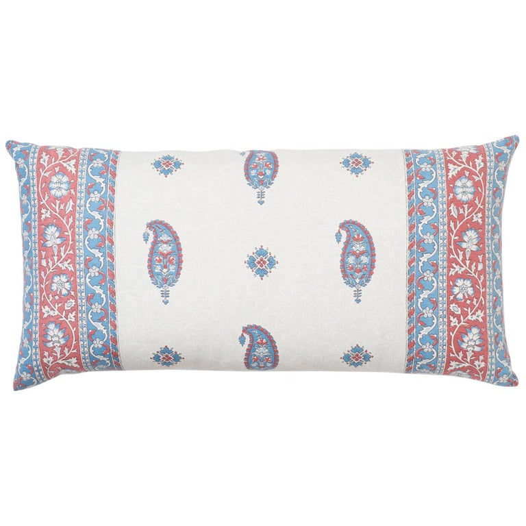 Schumacher Ojai Paisley Mark D. Sikes Red Two-Sided Lumbar Pillow For Sale