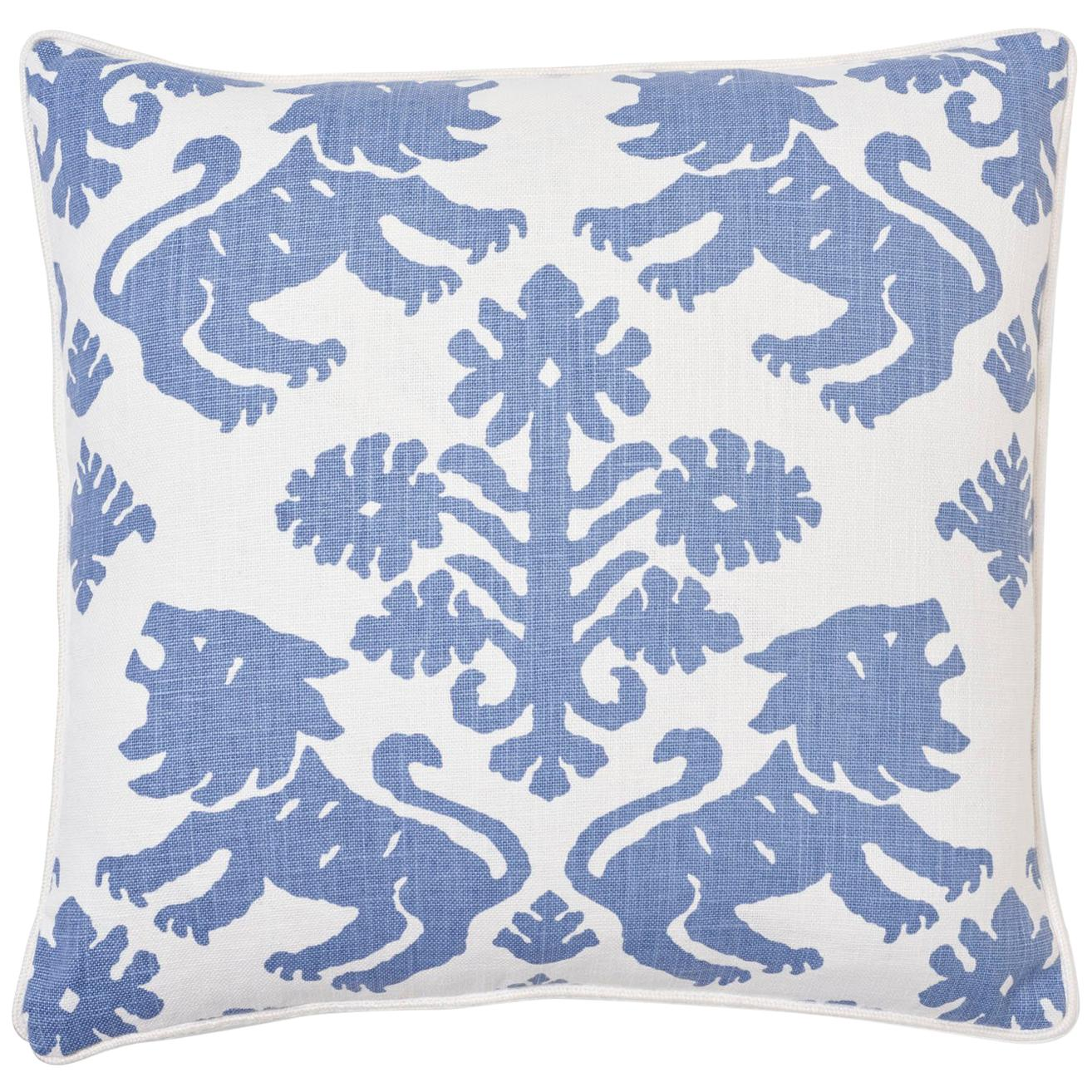 Schumacher Regalia Blue Two-Sided Linen Cotton Pillow