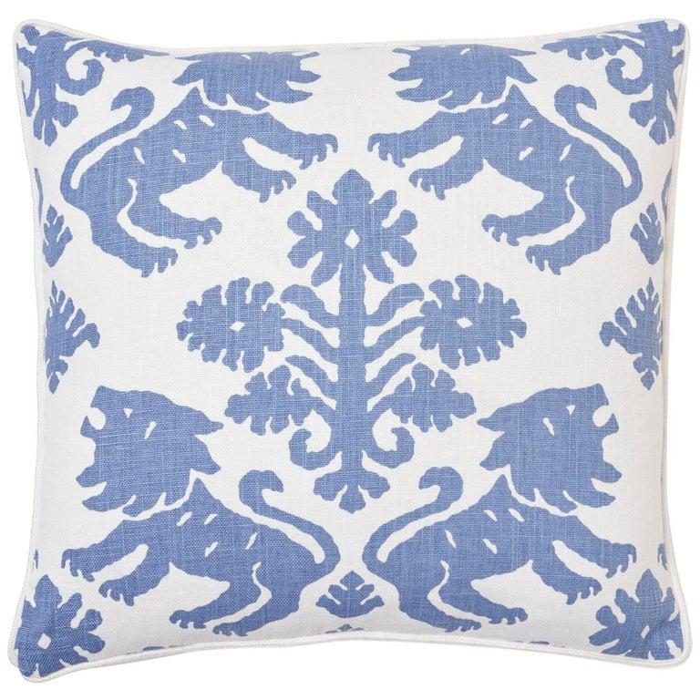 Schumacher Regalia Blue Two-Sided Linen Cotton Pillow For Sale