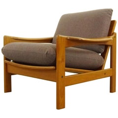 Scandinavian Teak Easy Chair in Purple-Grey Fabric, 1960s
