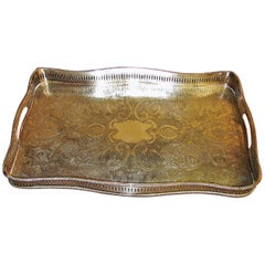 19th Century British Old Sheffield Plated Silver Heavily Engraved Serving Tray