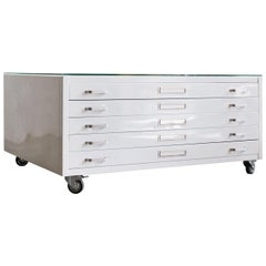 Flat File Coffee Table in Gloss White with Glass Top, Custom Order