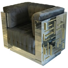 Contemporary Custom Made Pair of Club Chairs in Brass and Steel