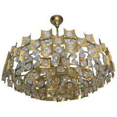 Large & Extraordinary Midcentury Brutalist Gilt Brass & Crystal Chandelier 1960s