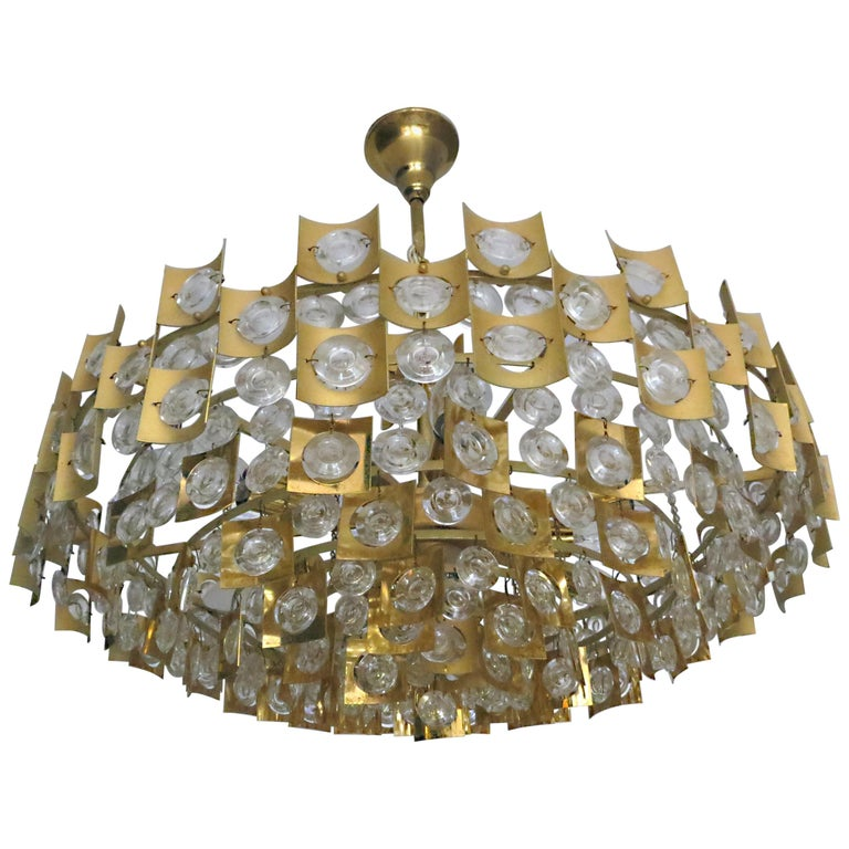 Large & Extraordinary Midcentury Brutalist Gilt Brass & Crystal Chandelier 1960s For Sale