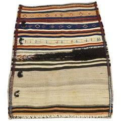 Kilim and Soumak Persian Saddle Blanket in Pure Wool, circa 1910
