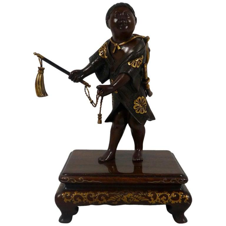 Japanese Gilt Bronze Okimono of a Boy, Miyao Eisuke, Meiji Period